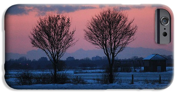 Wintertime iPhone Cases - Red sunset iPhone Case by Four Hands Art
