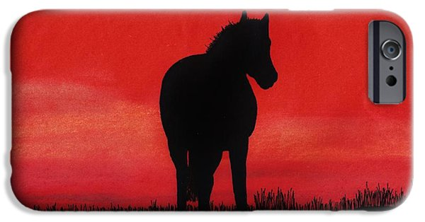Field. Cloud Drawings iPhone Cases - Red Sunset Horse iPhone Case by D Hackett