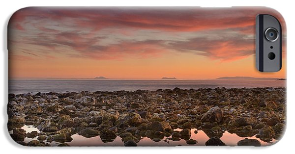 Malaga iPhone Cases - Red sunset over Gibraltar iPhone Case by Guido Montanes Castillo