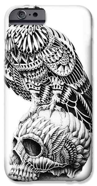 Artwork Drawings iPhone Cases - Red-Tail Skull iPhone Case by BioWorkZ