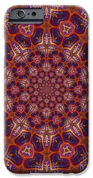 Tibetan Buddhism iPhone Cases - Red Tapestry with Airplane Crosses and Blue Background iPhone Case by Dawn Boyer