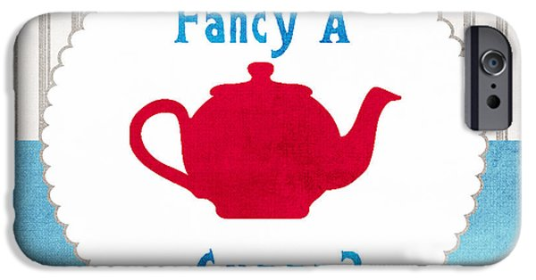 Teapots iPhone Cases - Red Teapot iPhone Case by Linda Woods