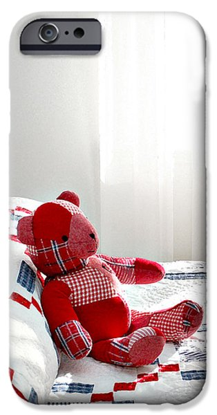 Quilt Blue Blocks iPhone Cases - Red Teddy Bear iPhone Case by Art Block Collections