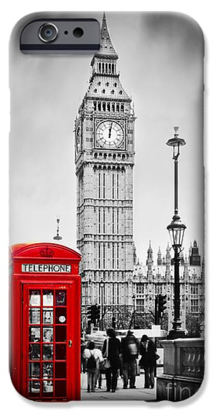 Recently Sold -  - Business Photographs iPhone Cases - Red telephone booth and Big Ben in London iPhone Case by Michal Bednarek