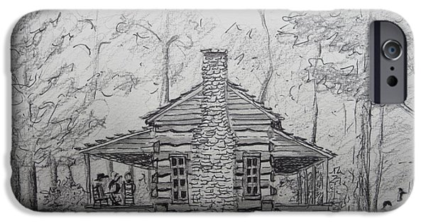 Cabin Window Paintings iPhone Cases - Red Top Mountain Cabin iPhone Case by Gretchen Allen
