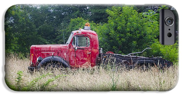 Tow Truck iPhone Cases - Red Tow Truck in Tall Grass iPhone Case by Bill Cannon