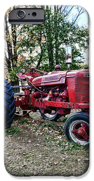 Harvest Time iPhone Cases - Red Tractor 1 iPhone Case by Paul Ward