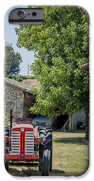 Red Tractor on a French Farm iPhone Case by Nomad Art And  Design