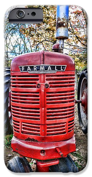 Harvest Time iPhone Cases - Red Tractor iPhone Case by Paul Ward