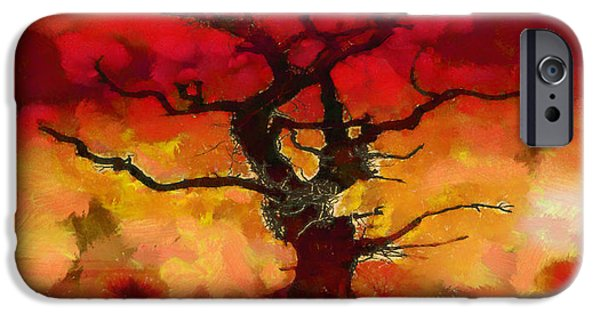 Impression iPhone Cases - Red tree of life iPhone Case by Pixel Chimp
