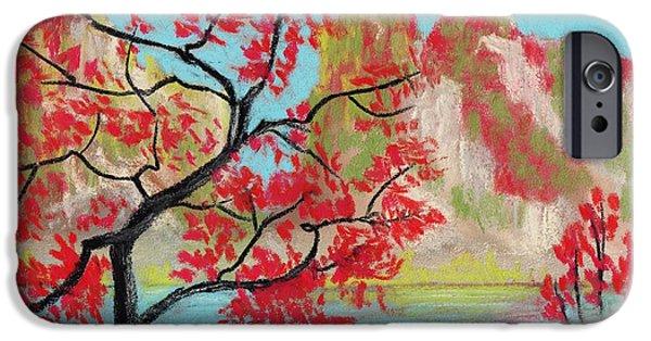 Autumn Pastels iPhone Cases - Red Trees iPhone Case by Anastasiya Malakhova