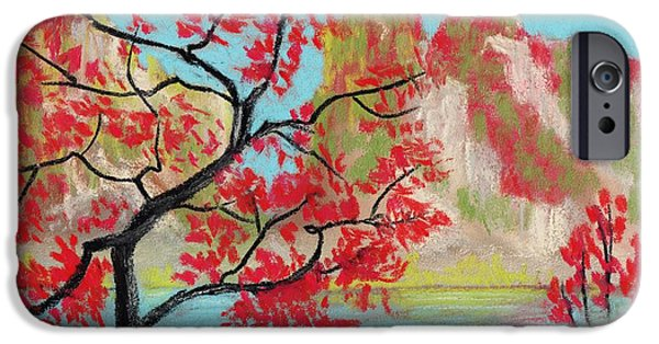 Outdoors Pastels iPhone Cases - Red Trees iPhone Case by Anastasiya Malakhova