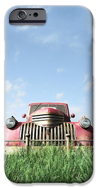 Old Truck iPhone Cases - Red Truck iPhone Case by Cynthia Decker