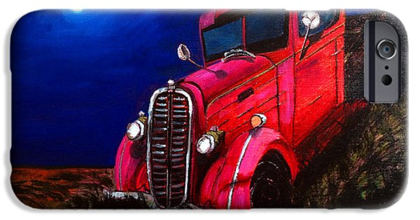 Mechanics Paintings iPhone Cases - Red Truck iPhone Case by Deb Wolf