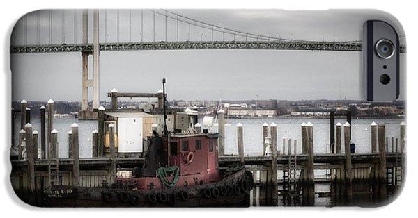 Bay Bridge iPhone Cases - Red Tugboat and Newport Bridge II iPhone Case by Joan Carroll