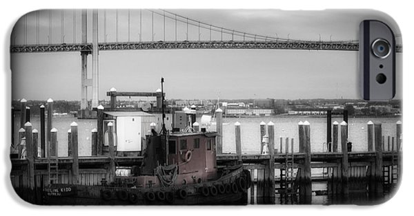 States iPhone Cases - Red Tugboat and Newport Bridge iPhone Case by Joan Carroll