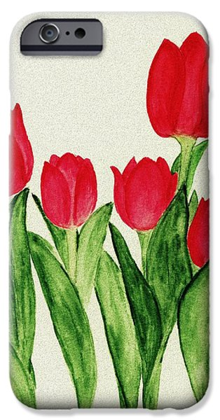 Garden Digital Art iPhone Cases - Red Tulips iPhone Case by Anastasiya Malakhova