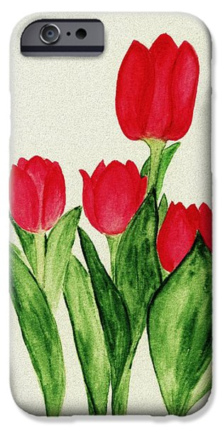 Decorative Digital Art iPhone Cases - Red Tulips iPhone Case by Anastasiya Malakhova
