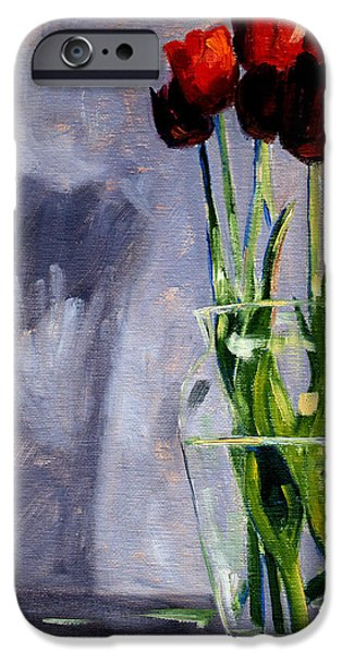 Business Paintings iPhone Cases - Red Tulips iPhone Case by Nancy Merkle