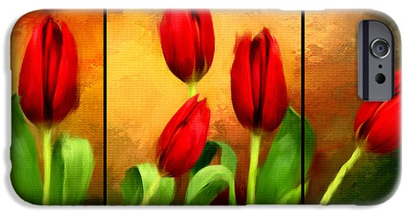 Flower Of Life Digital Art iPhone Cases - Red Tulips Triptych iPhone Case by Lourry Legarde
