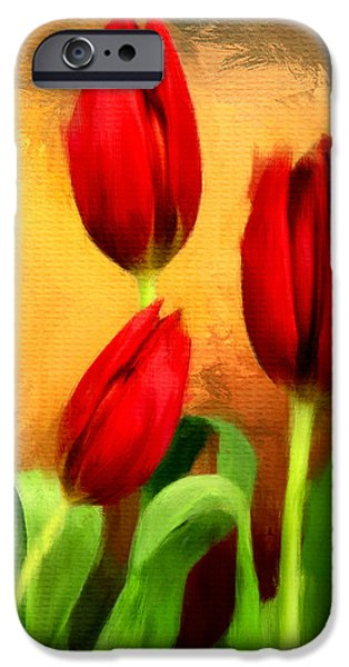 Flower Of Life Digital Art iPhone Cases - Red Tulips Triptych Section 2 iPhone Case by Lourry Legarde