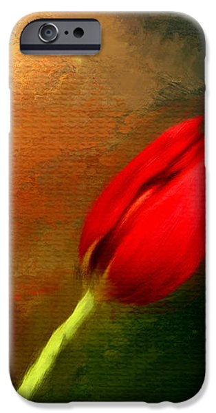 Flower Of Life Digital Art iPhone Cases - Red Tulips Triptych Section 3 iPhone Case by Lourry Legarde