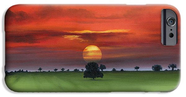 Tuscan Sunset Paintings iPhone Cases - Red Tuscan Sunrise with Poppy Field iPhone Case by Cecilia  Brendel