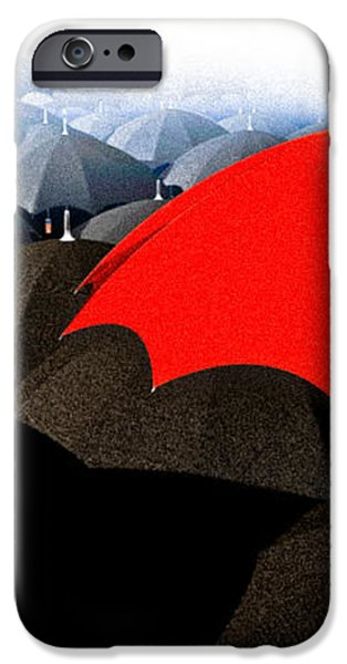 Red Umbrella In The City iPhone Case by Bob Orsillo