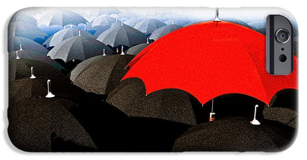Finance iPhone Cases - Red Umbrella In The City iPhone Case by Bob Orsillo