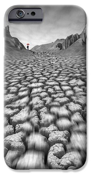 Cracks Digital Art iPhone Cases - Red Umbrella iPhone Case by Mike McGlothlen