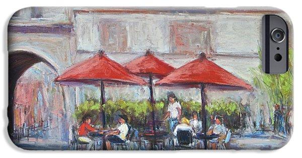Umbrella Pastels iPhone Cases - Red Umbrellas iPhone Case by Joyce A Guariglia