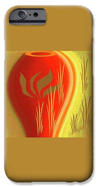 Ben Gertsberg Digital Art iPhone Cases - Red Vase iPhone Case by Ben and Raisa Gertsberg