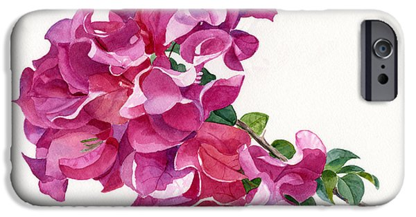 Dark Pink iPhone Cases - Red Violet and Pink Bougainvillea on a Branch iPhone Case by Sharon Freeman