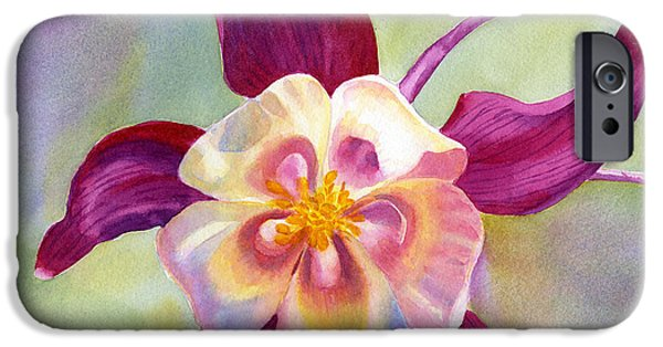 Columbine iPhone Cases - Red Violet Columbine with Background iPhone Case by Sharon Freeman