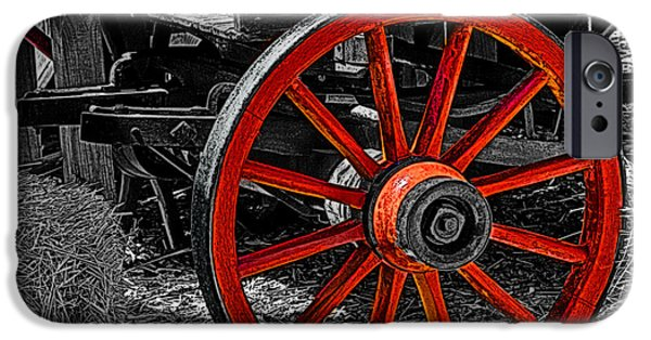 Airbrush iPhone Cases - Red Wagon Wheel iPhone Case by Jack Zulli