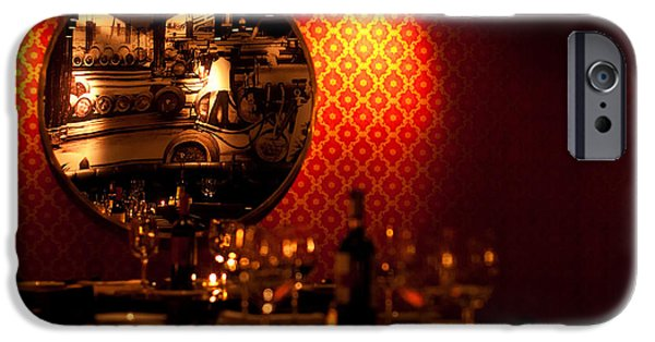 Table Wine iPhone Cases - Red Wall and Dinner Table iPhone Case by Jess Kraft