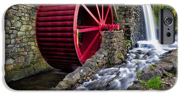 Sudbury River iPhone Cases - Red Water Wheel iPhone Case by Karen Celella