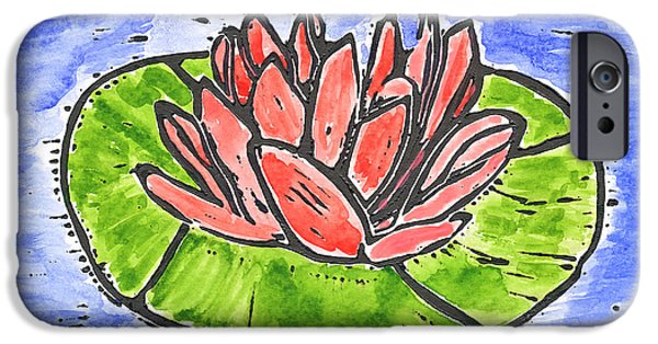 Lino Cut iPhone Cases - Red Waterlily iPhone Case by Lynn-Marie Gildersleeve
