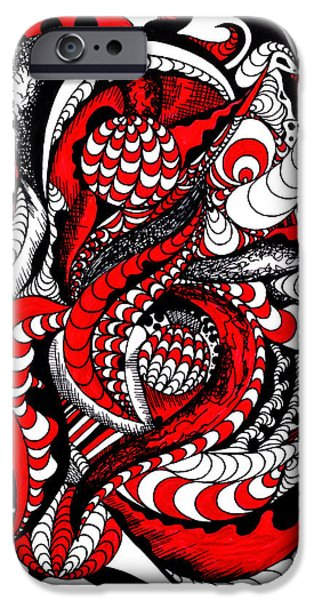 Kenal Louis iPhone Cases - Red Wave Of Thoughts iPhone Case by Kenal Louis