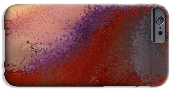 Abstract Expressionist iPhone Cases - Red Wave. Panaoamic Art iPhone Case by Mark Lawrence