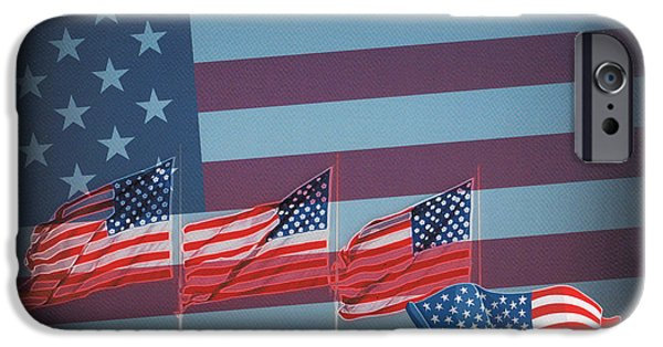 Old Glory iPhone Cases - Red White And Blue iPhone Case by Kay Novy