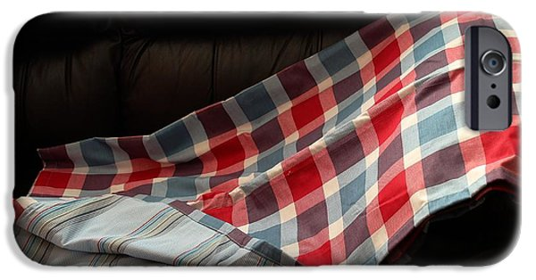 Quilt Blue Blocks iPhone Cases - Red White and Blue Quilt  iPhone Case by Barbara Griffin