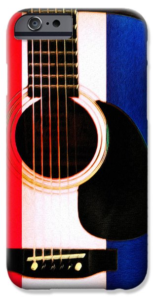 Red White And Blue Digital iPhone Cases - Red White and Blues iPhone Case by Bill Cannon