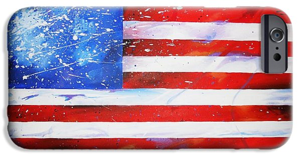 Old Glory Drawings iPhone Cases - Red White and Bold iPhone Case by David Keenan
