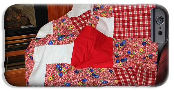 Quilts For Sale iPhone Cases - Red White and Gingham with Flowery Blocks Patchwork Quilt iPhone Case by Barbara Griffin