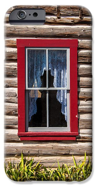 Cabin Window iPhone Cases - Red Window Log Cabin - idaho iPhone Case by Gary Whitton