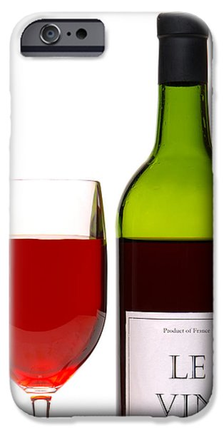 Samples iPhone Cases - Red Wine and Bottle iPhone Case by Olivier Le Queinec