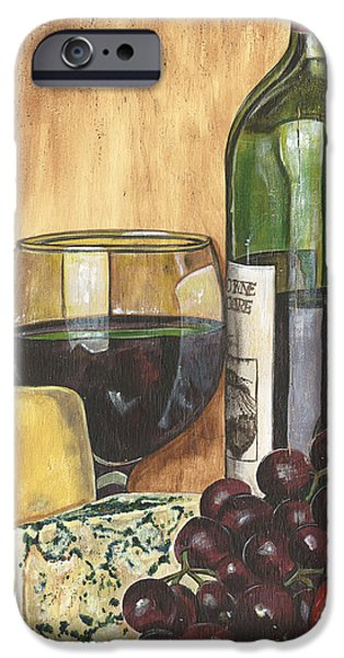 Wine Bottles Paintings iPhone Cases - Red Wine and Cheese iPhone Case by Debbie DeWitt