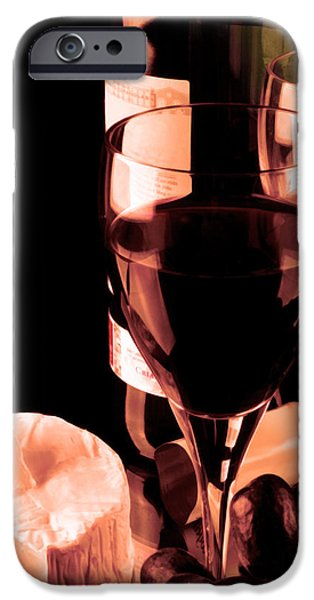 Table Wine iPhone Cases - Red wine and glass iPhone Case by Toppart Sweden