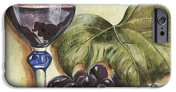 Wine Glasses Paintings iPhone Cases - Red Wine And Grape Leaf iPhone Case by Debbie DeWitt